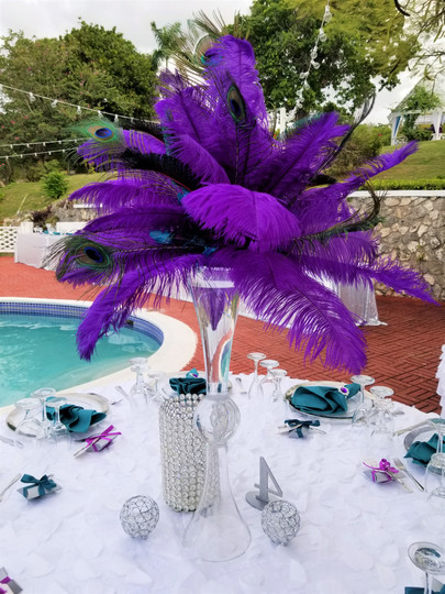 Coloured Feather Centerpiece