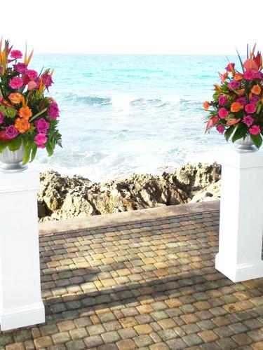 Tropical Floral Pedestal Arrangements