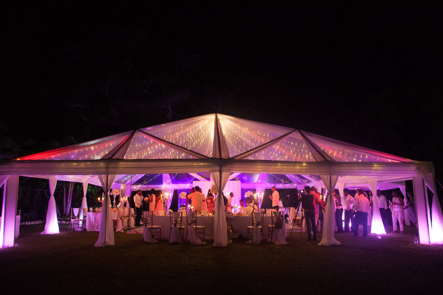 lighting in clear top tent