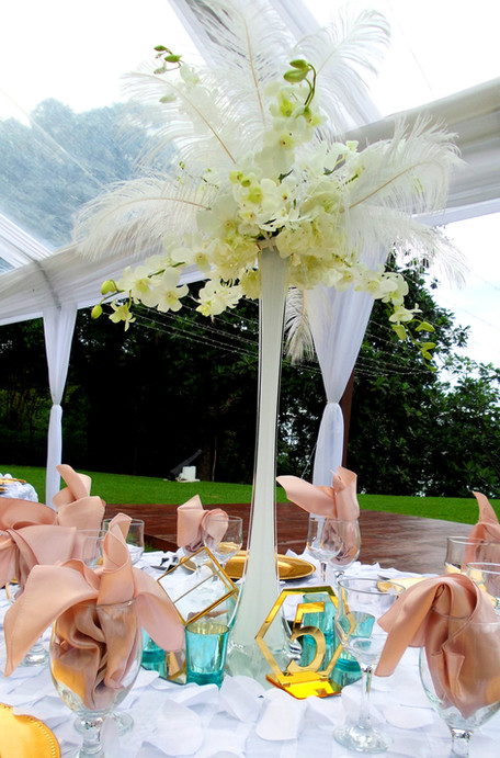 Feather and Orchid Centerpiece