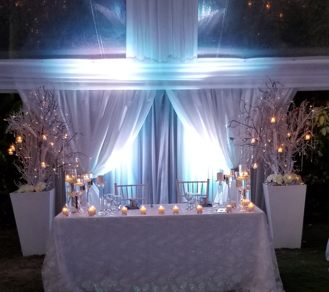 sweetheart table and backdrop