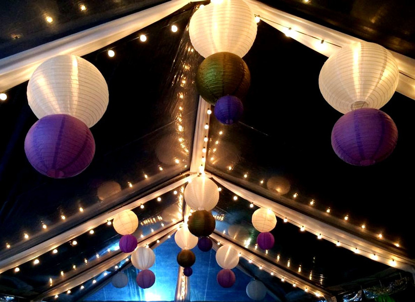 String lights and paper lanterns