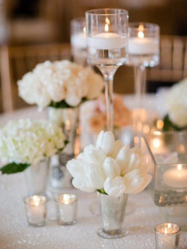Pedestal Vases with Floating Candles