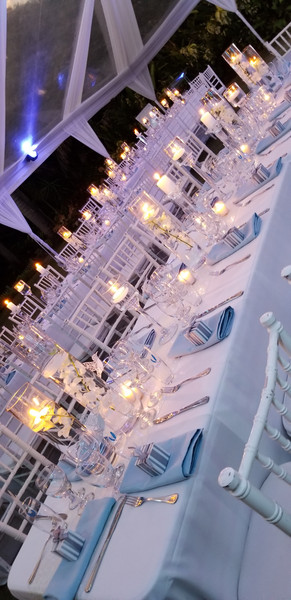 candle long table setting