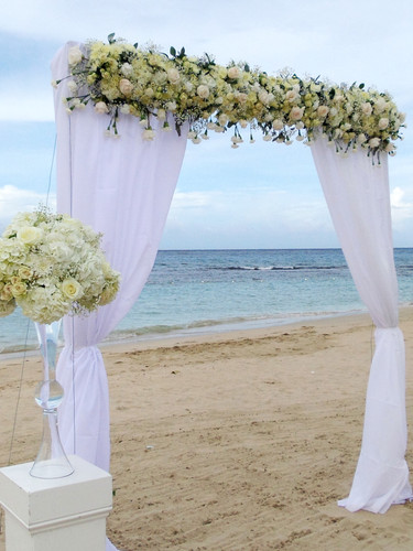 2 Post Arch with White Garland