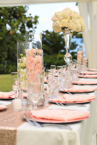Floating Candles and Floral Arrangement