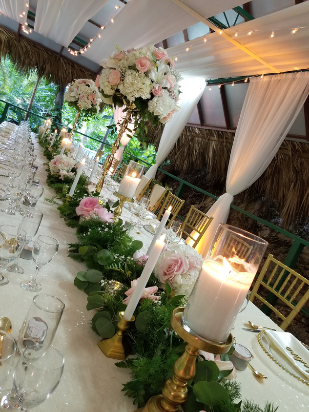 Greenery Garland with Florals and Candles
