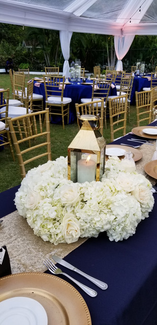 Lantern and Hydrangea Centerpiece