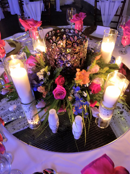 Custom Indian Floral Centerpiece with Pillar Candles