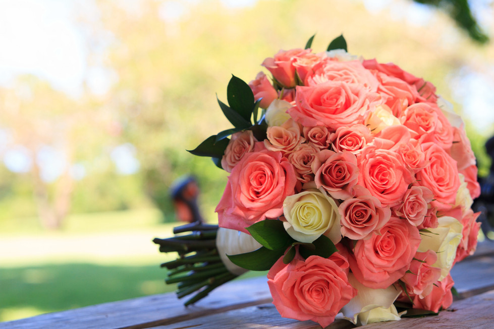 Coral Rose and Spray Rose Bouquet