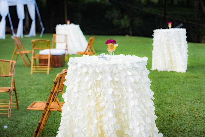 petal tablecloth bistro tables