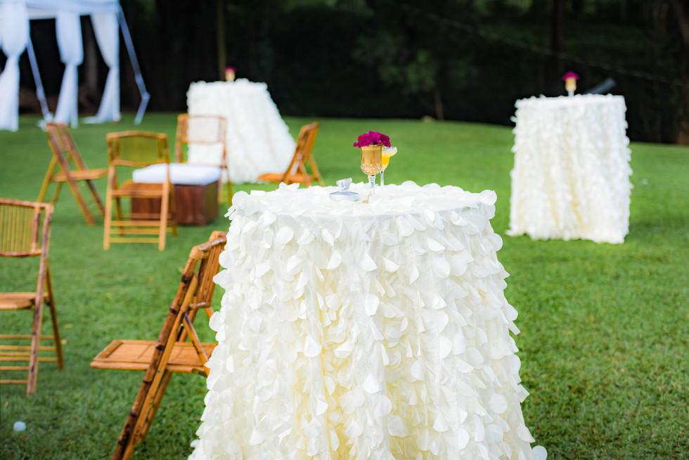 petal tablecloth bistro tables