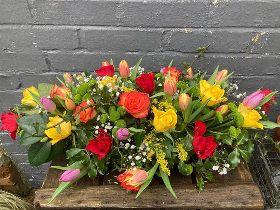 Bright and Cheerful funeral spray
