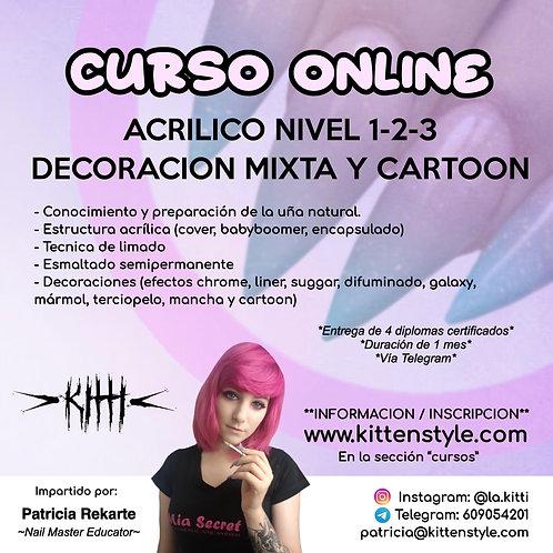 Curso Online Acrílico nivel 1-2-3 y decoración mixta-cartoon