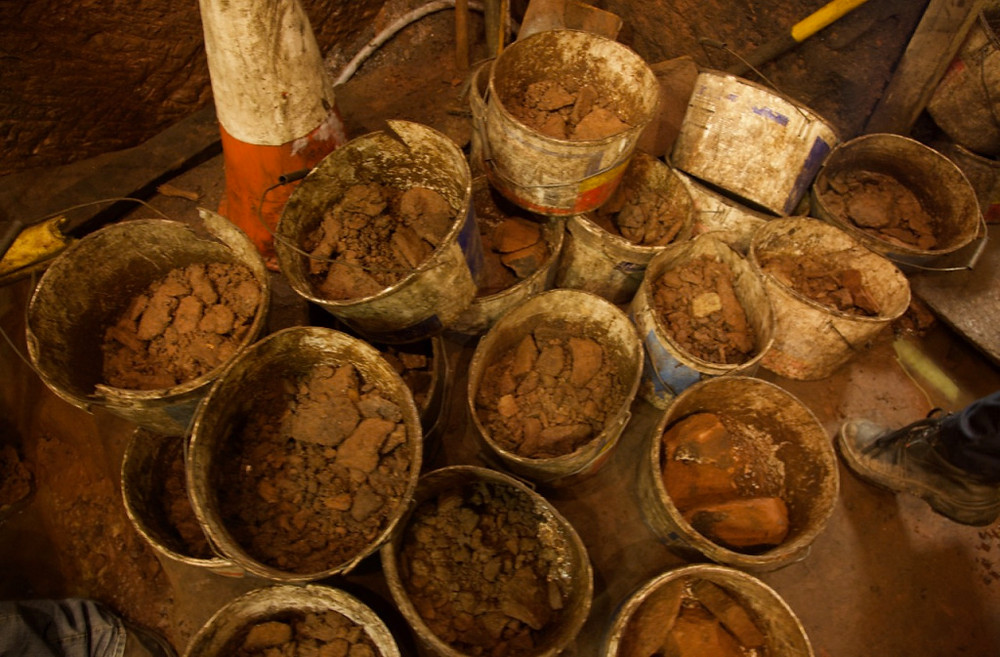 Some of the hundreds of buckets used to remove material from the tunnels