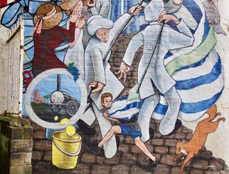 Eccles Wakes mural, Church Street, Eccles