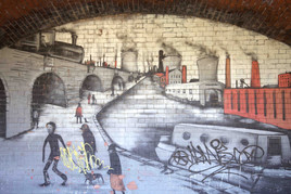 Mural, Railway viaduct, Philips Park, Clayton