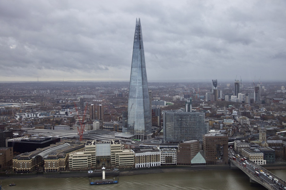 The Shard viewed from the open-air terrace at level 35 of 20 Fenchurch St.
