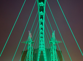 Illuminated bridge, Lightwaves exhibition, Salford Quays, December 2016
