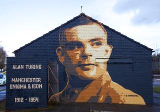Alan Turing mural, Southern Cemetery bus station, Princess Road, Chorlton