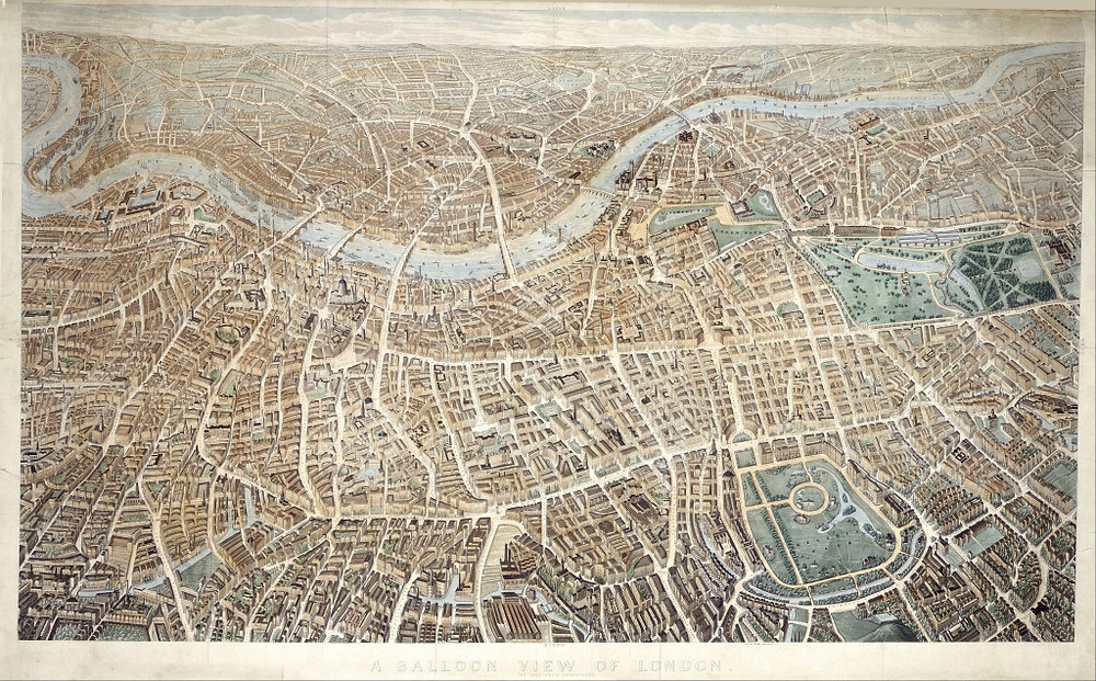 John Henry Banks's 'Balloon View of London', exhibited in the Crystal Palace in 1851.