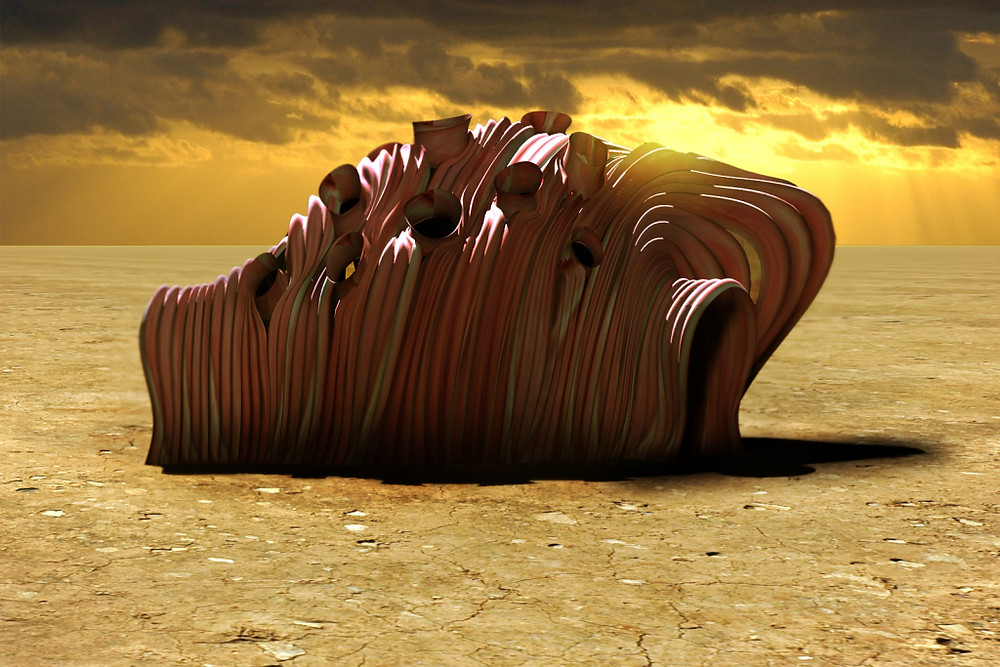 Rendering of Mitchell Joachim's 'Meat house' project, formed by the 3D printing of extruded pig cells