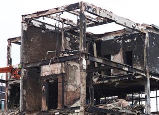 Demolition of Dobbins building, Oldham Street, Northern Quarter, May 2013