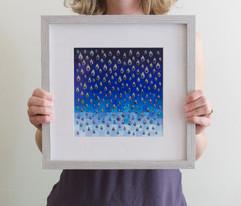 Rain (framed), 2020, 25x25cm