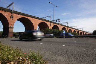 Railway viaduct over the M60 motorway, Stockport