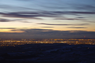 Manchester seen from Kinder Low, Kinder Scout