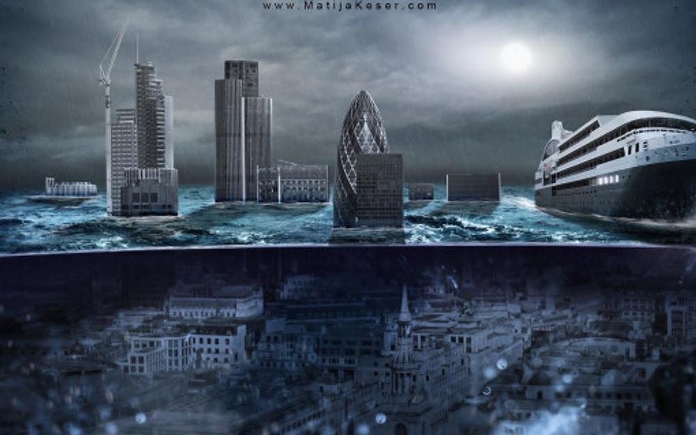 Matija Keser, London Underwater, post-apocalyptic wallpaper
