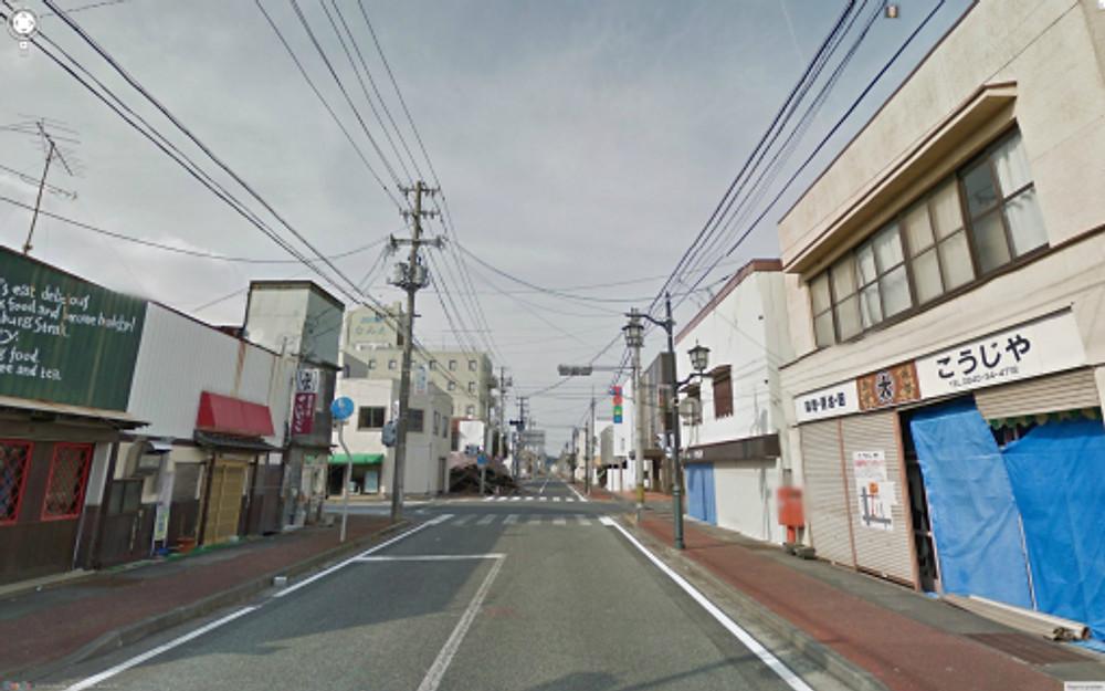 Google Maps street view of Fukushima town, Japan