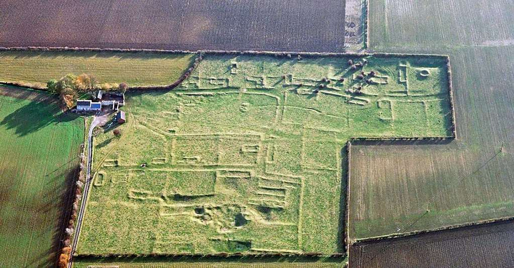 Aerial view of Gainsthorpe medieval village, Lincolnshire