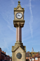 Houldsworth clock and drinking fountain, Houldsworth Square, Reddish, Stockport