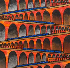 Viaducts, 2020, 14x14cm