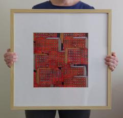 Millscape (framed), 2020, 50x50cm