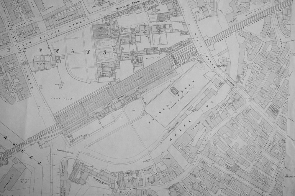 4. Extract from the first Ordnance Survey map of Manchester (1849) showing the open course of the Irk