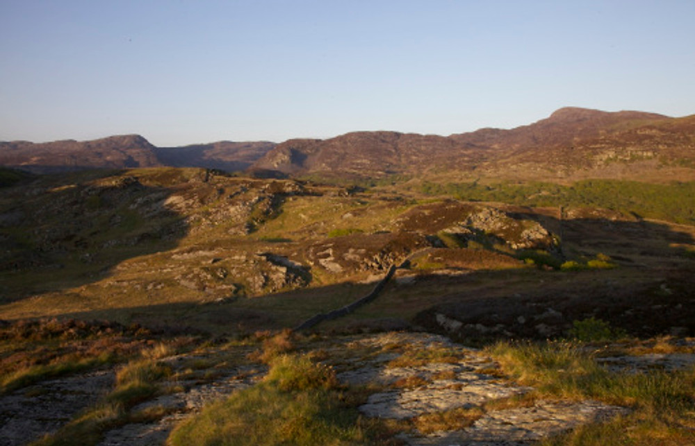Sunset over the Rhinogs ridge, from Clip (left) to Rhinog Fawr (right)