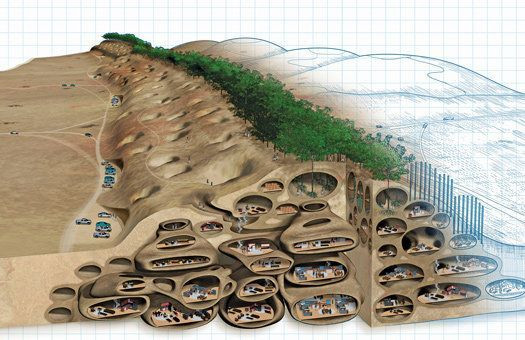 Magnus Larsson's 2013 project to sculpt Saharan sand dunes into habitable dwellings using bacteria