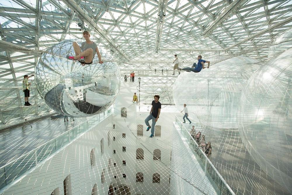 Tomas Saraceno's In Orbit installation, Kunstsammlung Nordrhein-Westfalen, Dusseldorf, 2013