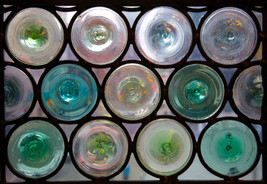 Windows made from bottle ends, John Rylands Library, Deansgate