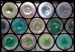 Windows made from bottle ends, John Rylands Library, Deansgate