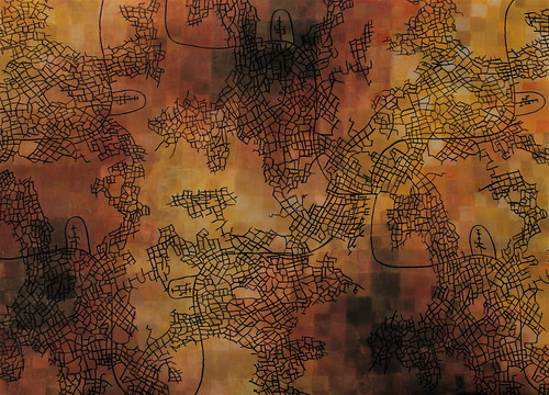 Underground city, 2007, charcoal & watercolour on chalk and ink