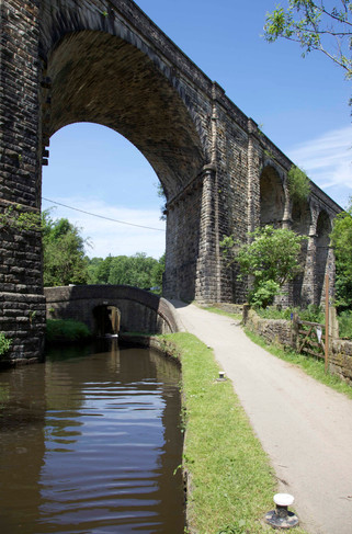 Railway viaduct, Huddersfield Narrow Canal, Uppermill, Saddleworth