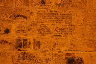 Faded instructions, Second World War air-raid shelters under the Great Northern Warehouse