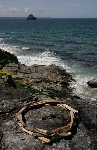 Driftwood circle, Hole beach, Cornwall