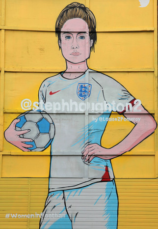 Steph Houghton, painted by Louise Pomeroy, Oldham Street, Northern Quarter