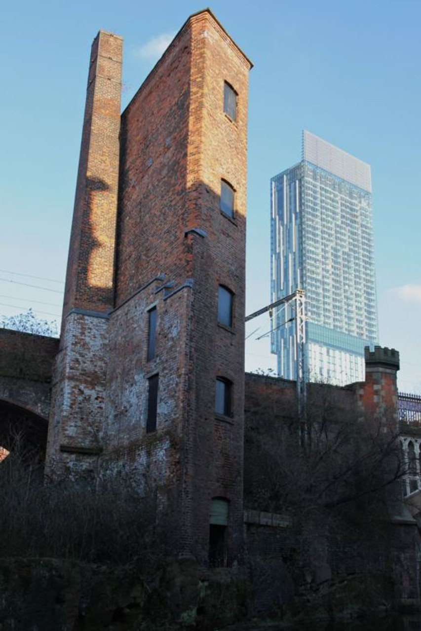 7. Beetham Tower (2006) next to a early Victorian factory on the Rochdale Canal.