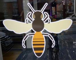 Window sticker, Bee Barber, Great Ancoats Street