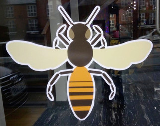 Window sticker, Bee Barber, Great Ancoats Street